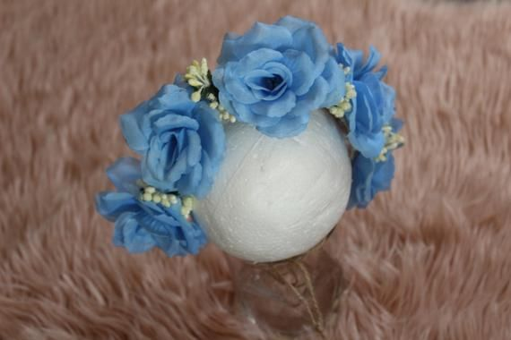 blue Flower Crown, headband Floral, Flower girl crown, Baby Tieback Headband, Girls Flower Crown, Fl #crownheadband