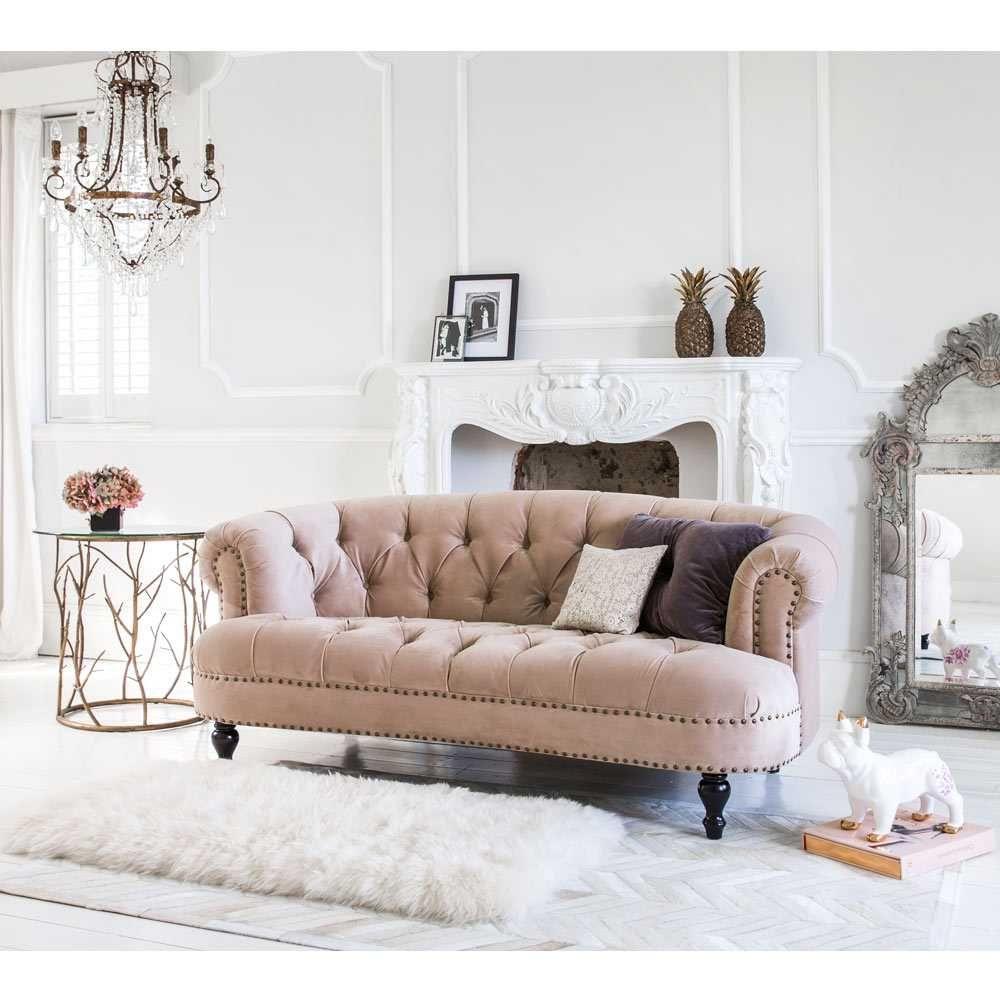 Best Chablis Roses Pink Velvet Sofa 2 Seater Pink Velvet 400 x 300
