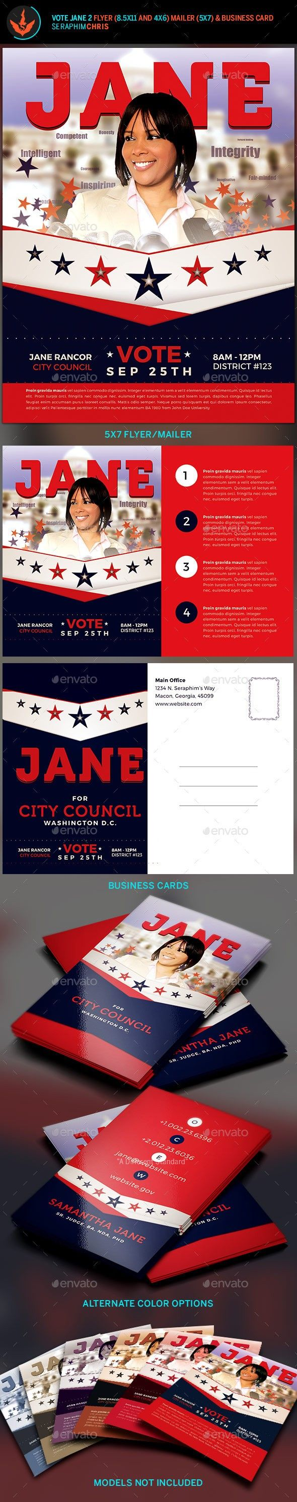 vote jane 2 political flyer template kit flyers layout
