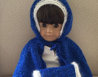 Knit American Girl Doll Cape & Muff   Knit Holiday Doll Coat   Hanukkah, Christmas, New Years Doll Outfit