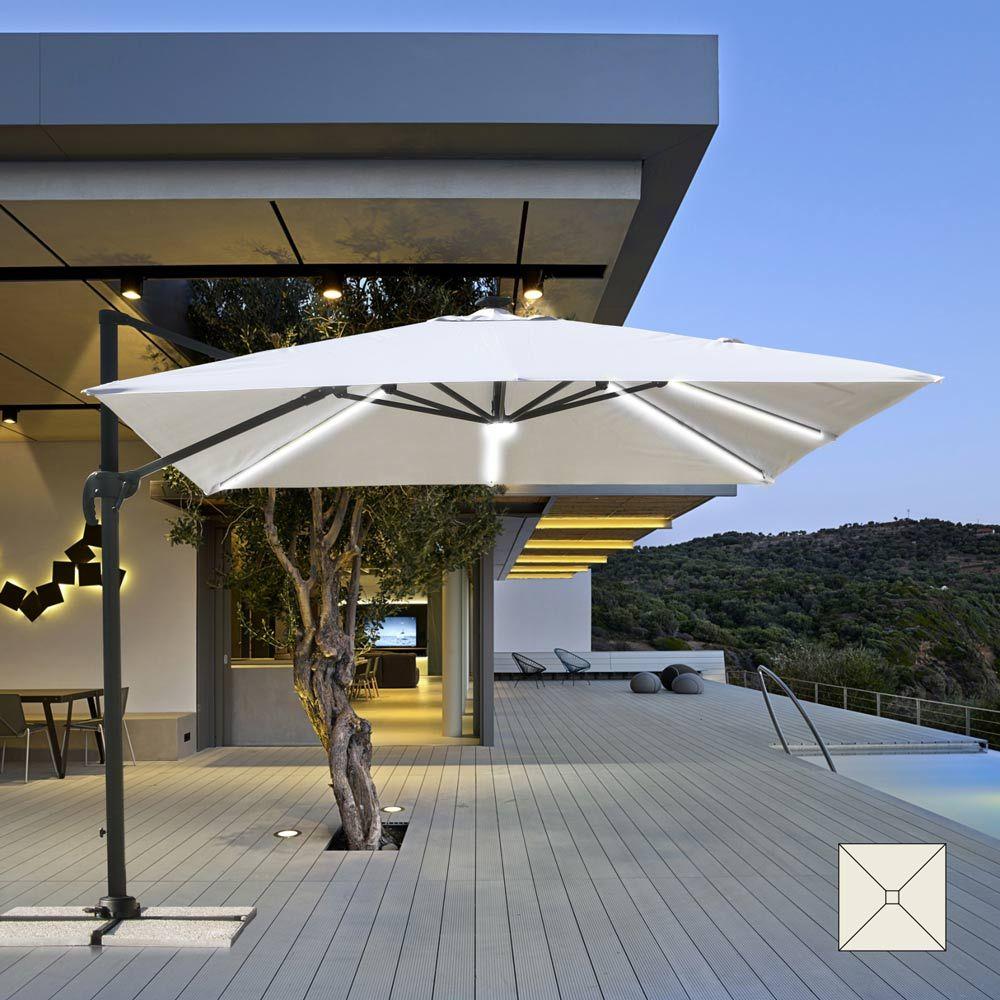 Cantilever 3x3m Garden Parasol With Integrated Solar Led Paradise Outdoor Patio Shades Garden Parasols Patio Shade
