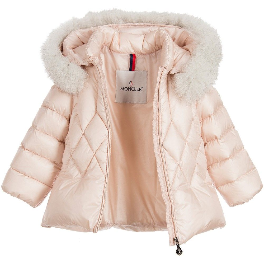 Moncler Baby Girls Pink Down Padded Coat with Fur Trim at