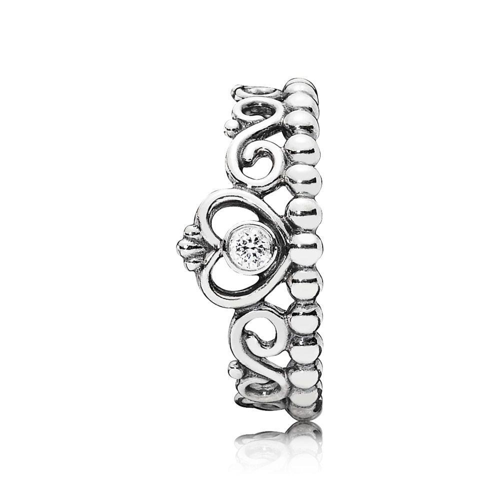 Pandora Princess Tiara Crown Ring Sterling Silver Clear Sz