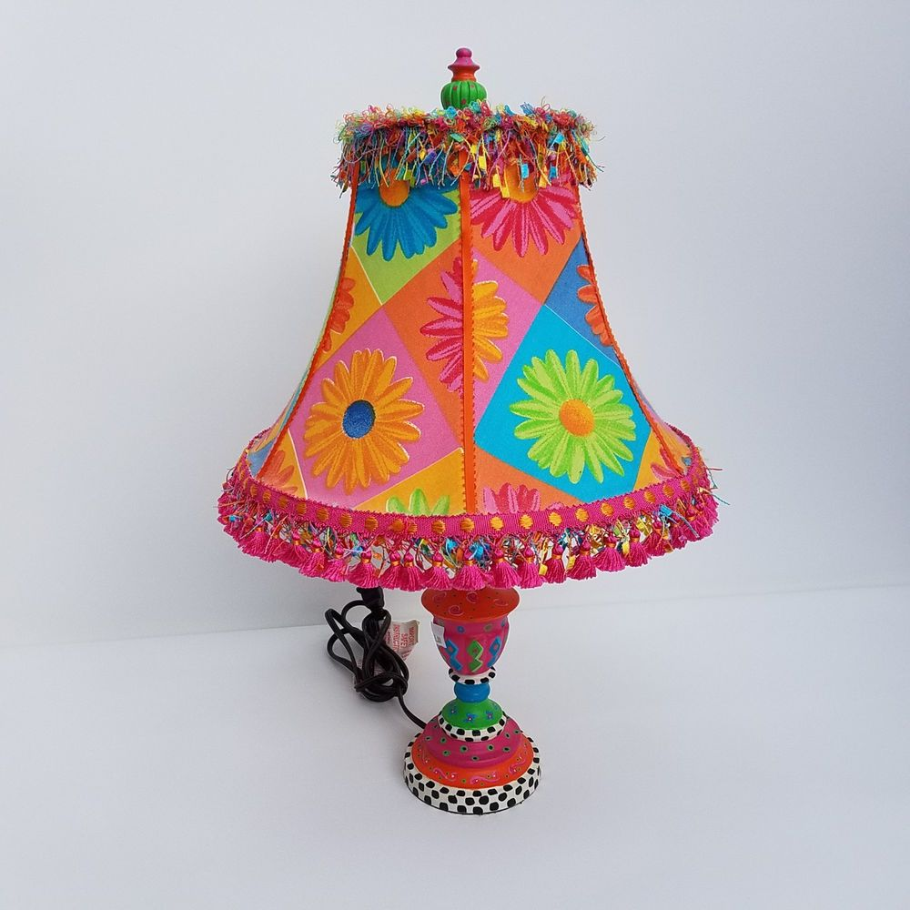 Boho Table Lamp Bright Loud Multicolored Hand Painted Base Fabric Shade Unbranded Novelty