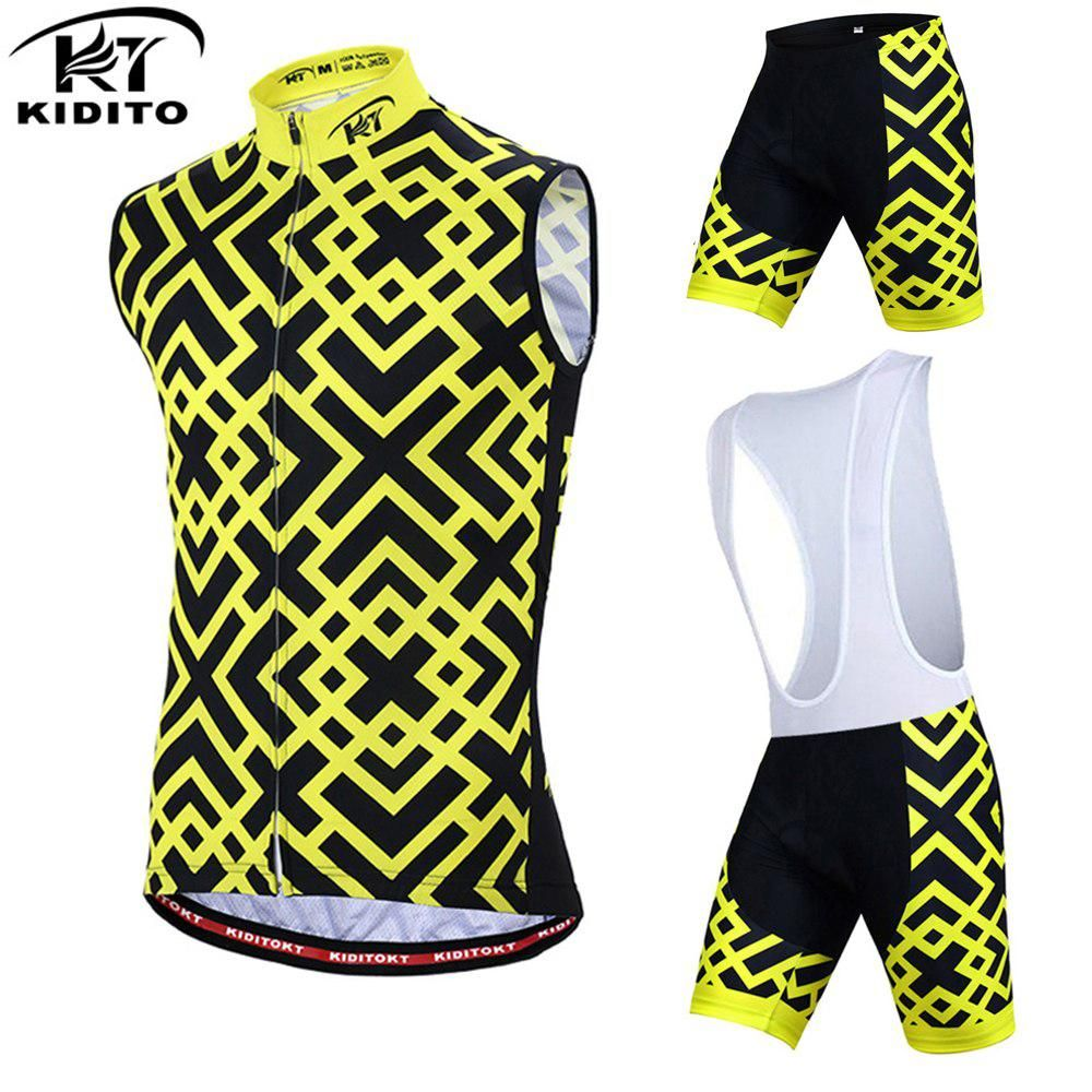 32d7cd694 KIDITOKT Grid Cycling Jersey Mens Summer Windproof Sleeveless Sport Wear  Waistcoat Polyester Bib Pants Bike Clothes Vest Sets. Yesterday s price  US   35.98 ...