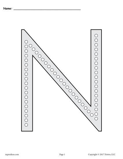 Free Letter N Q Tip Painting Printables Includes Uppercase And