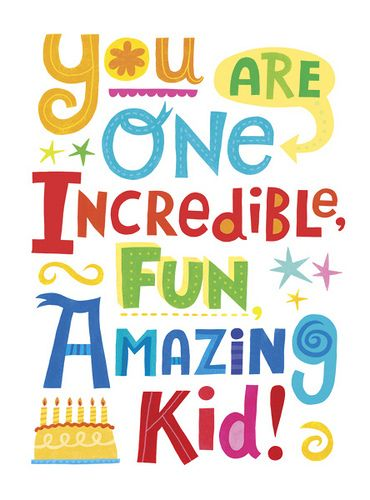Amazing Kid Birthday Card Outside Art Lettering Type