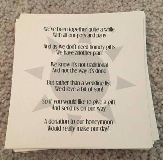 Wedding Gift Honeymoon Poem: Honeymoon Fund, Inexpensive