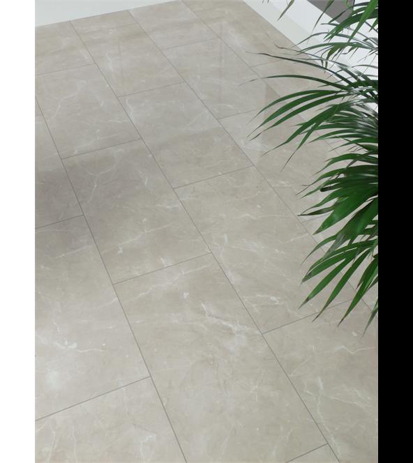 Westco 8mm Bottocino High Gloss Cream Tile Effect Laminate Flooring ...