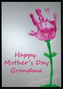 Mother's Day Gift Idea – Handprint Flower  Use card stock instead of copypaper,  it is thicker and shouldn't warp from the paint.