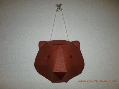 fabriquer un troph e t te d 39 ours en papier carton voyageons ludique pinterest. Black Bedroom Furniture Sets. Home Design Ideas