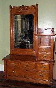 Golden Oak Side By Side Hotel Dresser W Hatbox Mirror