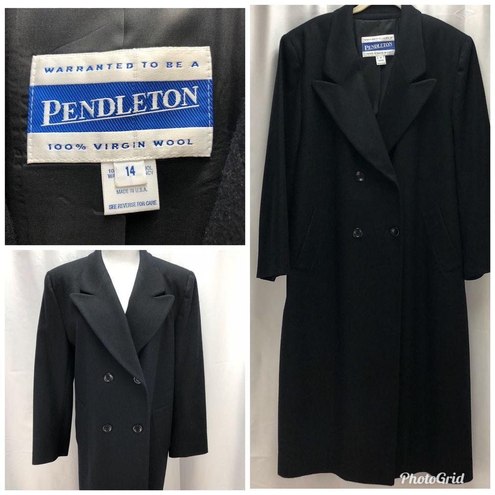 9c67b9a63dae8 Womens Pendleton Trench Coat Jacket Blue Winter Size 14 100% Virgin Wool