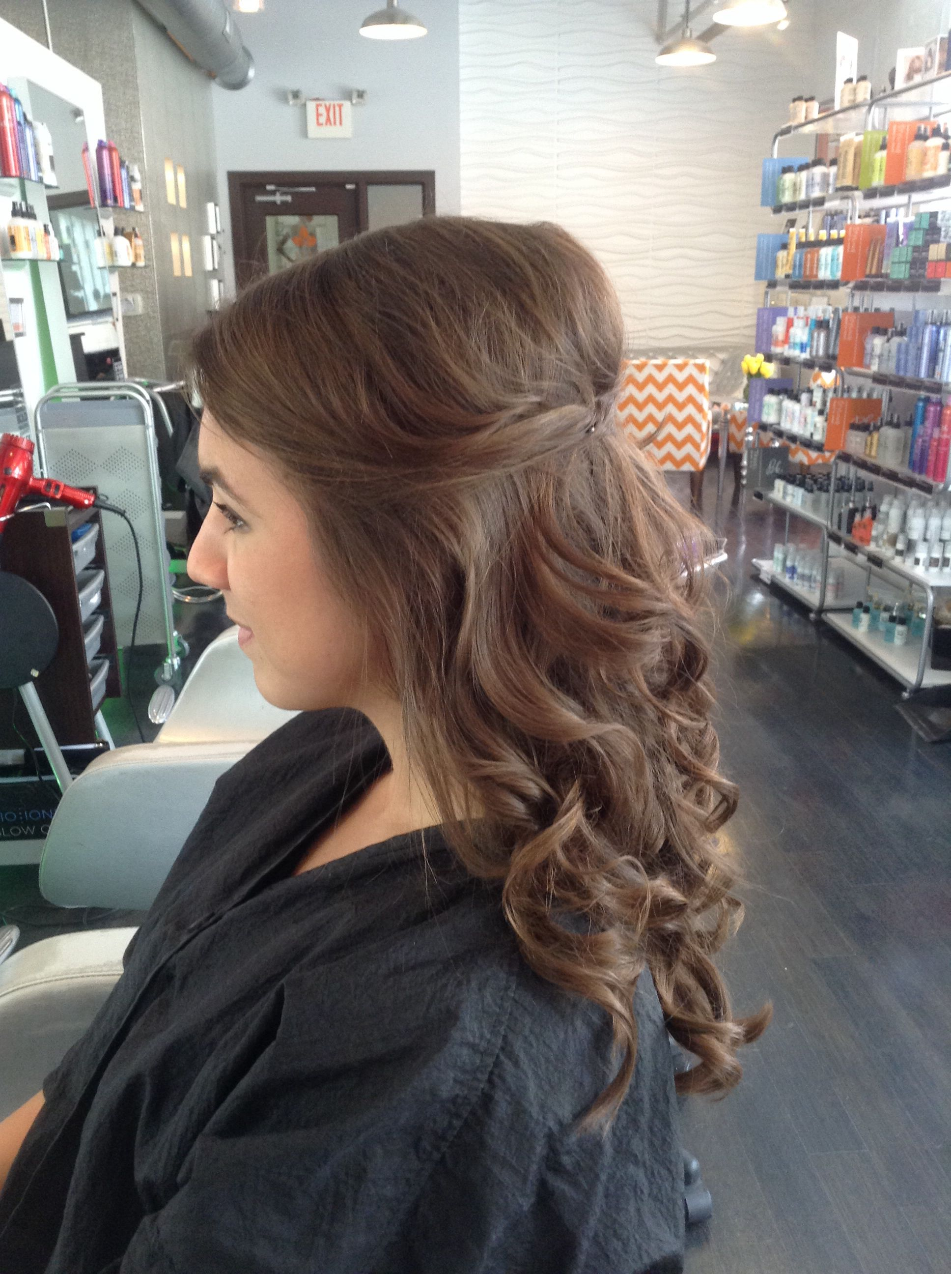 half up half down. hair by whitney ray. luxe salon and spa lancaster