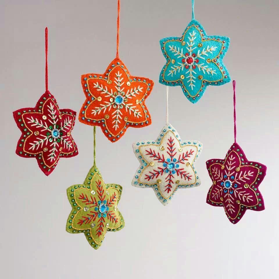 Estrellas Bordadas Fieltro Pinterest Estrella Fieltro Y Navidad ~ Crismas De Navidad Hechos Por  Ninos