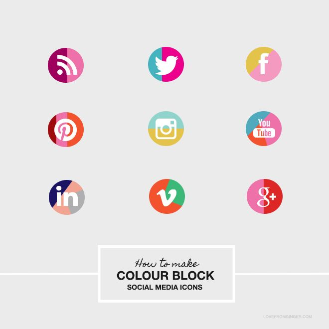 DIY COlour Block Social Media Icons | Love From Ginger