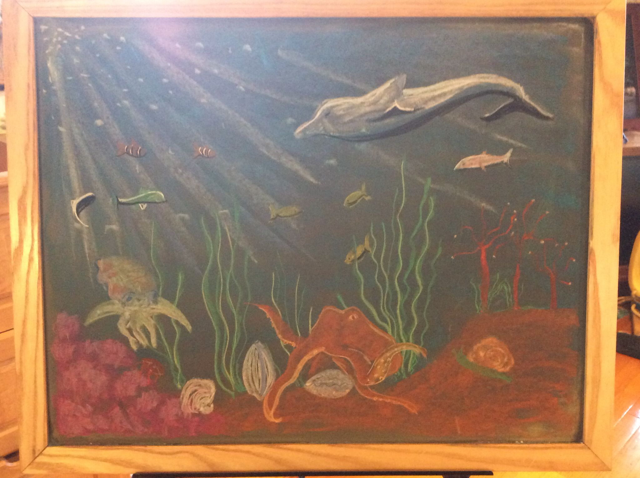 Underwater scene. Waldorf grade 4 The Human Being and the Animal.