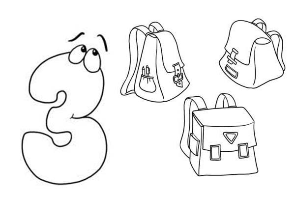 Learn Number 3 With Three Bags Coloring Page Bulk Color Coloring Pages Color Online Coloring