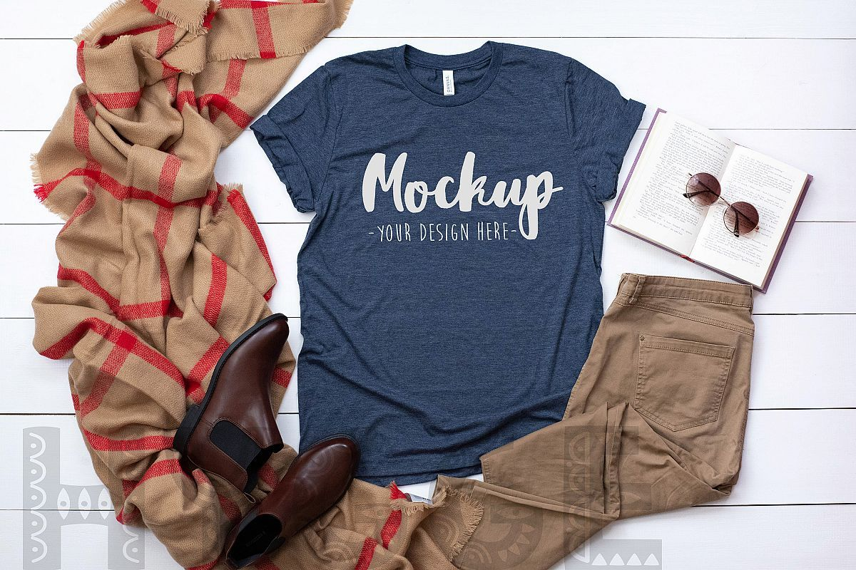 Download Tshirt Mockup Bella Canvas 3001 Heather Navy Tshirt Mockup ...