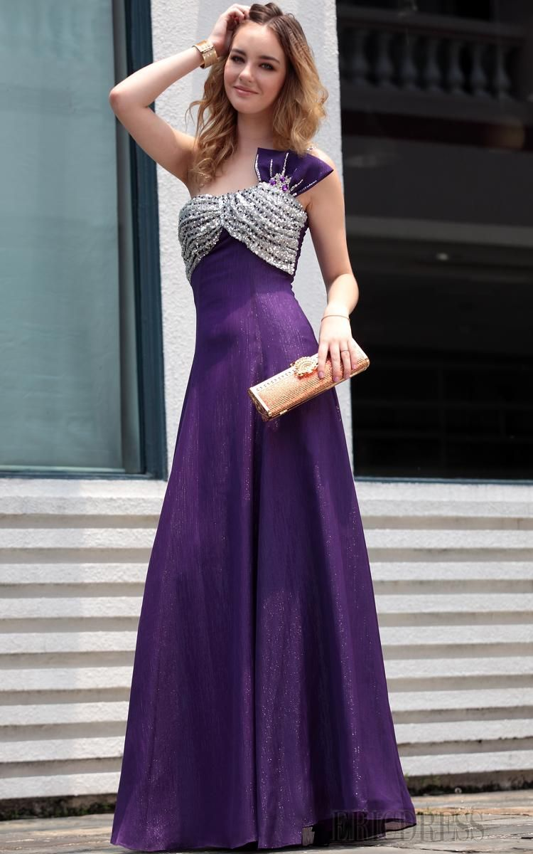Luxurious aline empire oneshoulder floorlength evening pageant