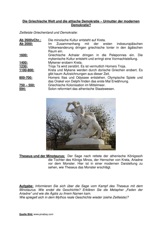 Die Griechische Welt Der Antike Theseus Und Der Minotaurus Unterrichtsmaterial Im Fach Geschichte In 2020 Griechisch Geschichte Minotaurus