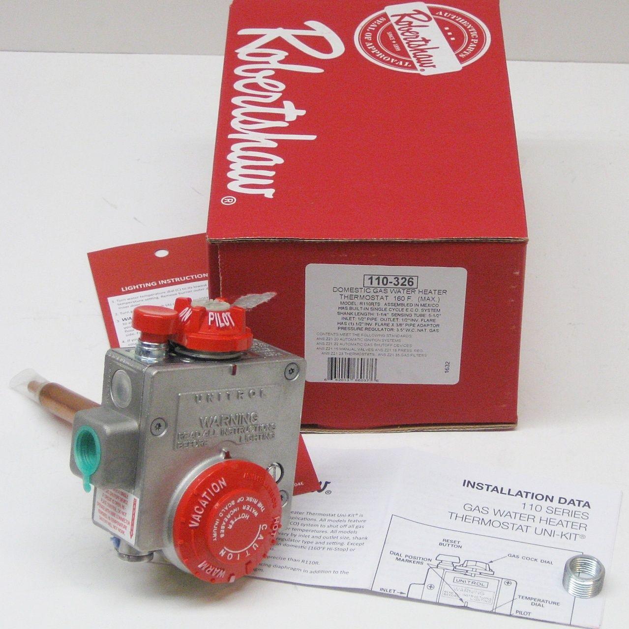 Gas Water Heater Thermostat Valve Robertshaw 110 326 Gas Water Heater Water Heater Thermostat Water Heater