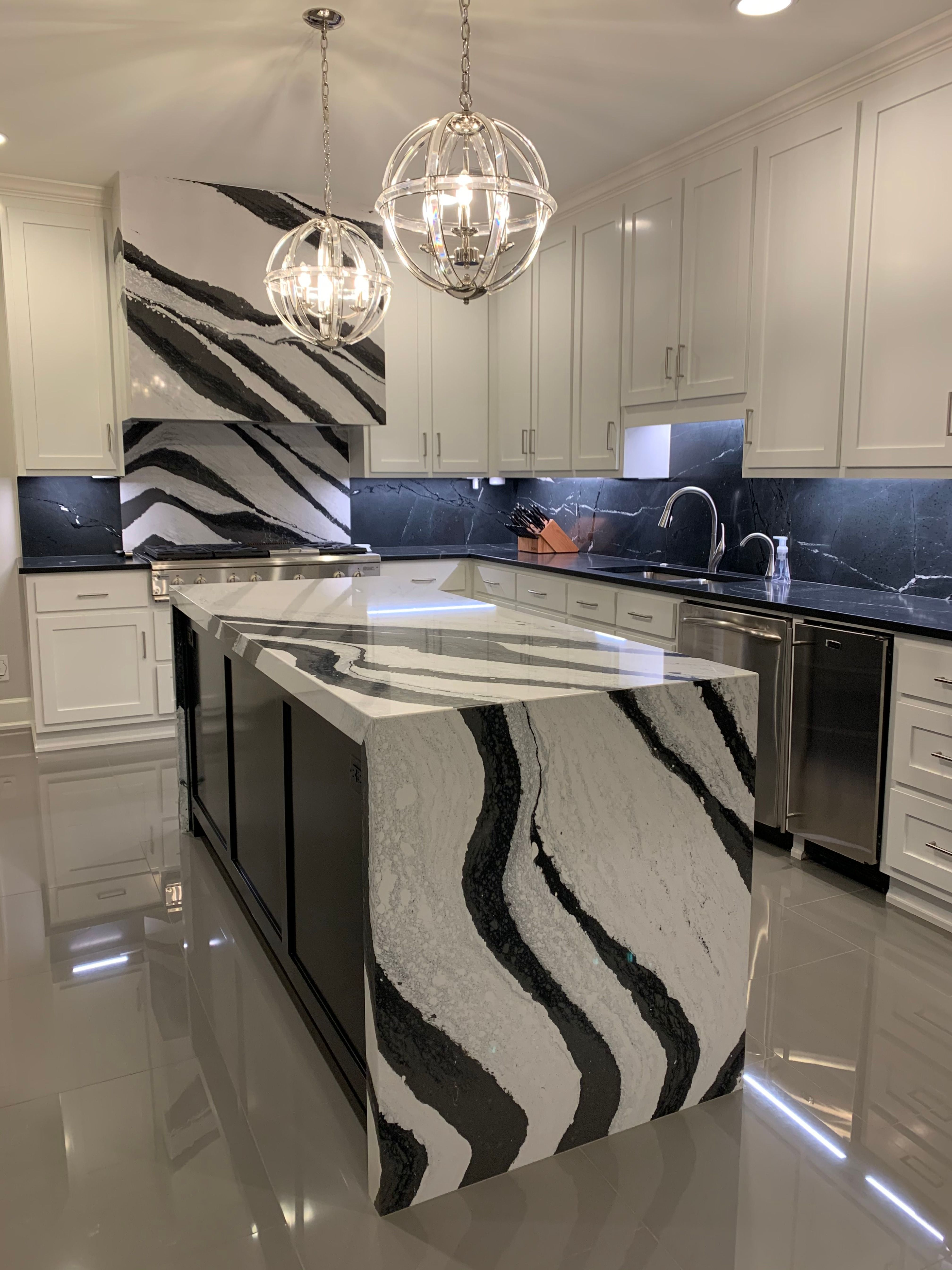 Gorgeous Black And White Bentley By Cambria Quartz Paired With Honed Black Granite This Kitchen Is The Definition Of Ele White Kitchen Kitchen Cambria Colors