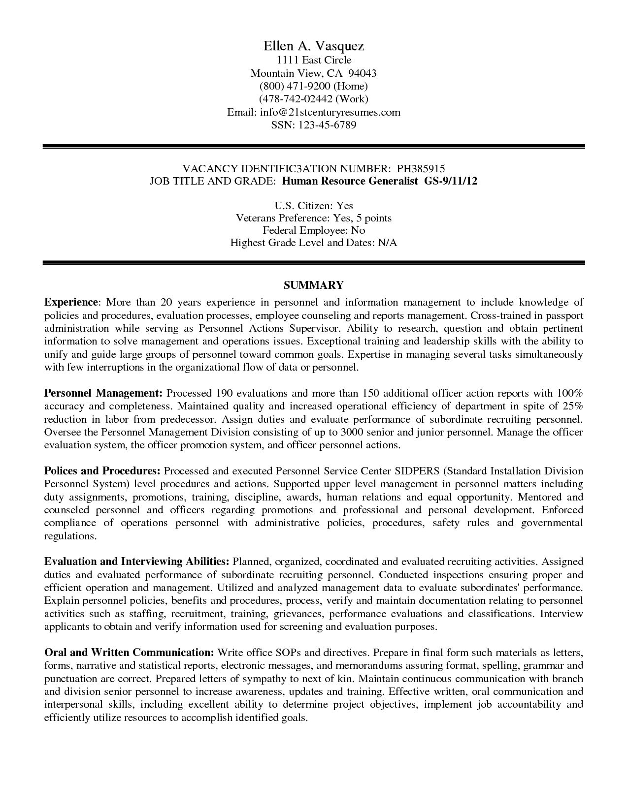 Military Civilian Resume Transition Federal Templates View Sample