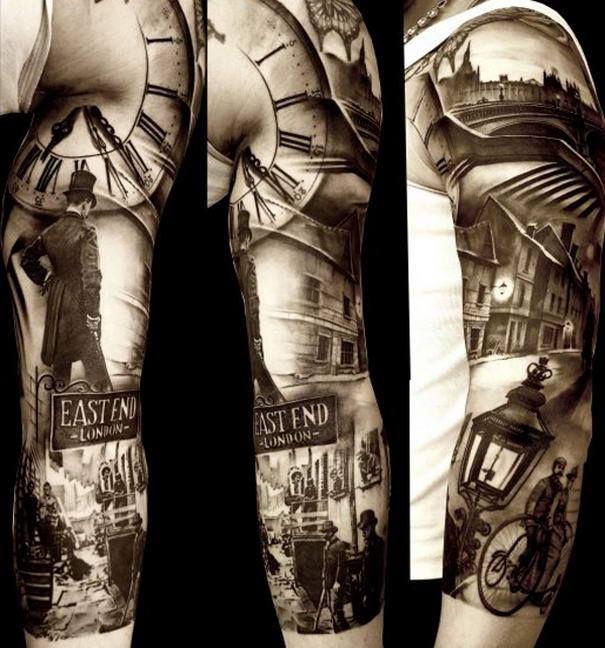 East End 3 Sleeve Tattoos Hyper Realistic Tattoo Grey Tattoo
