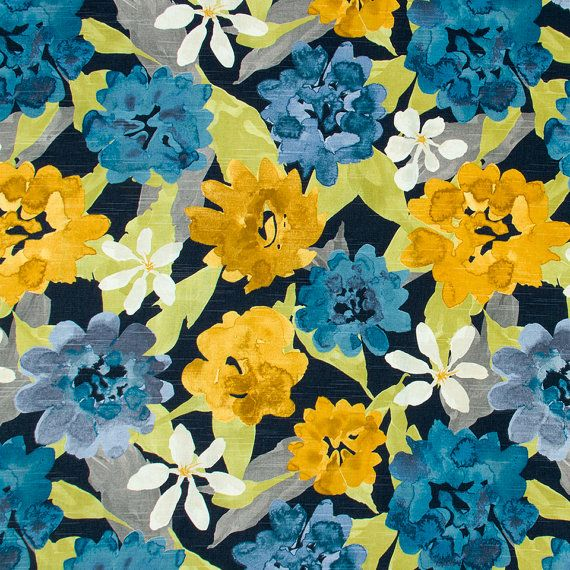 Navy Blue And Yellow Curtains: Turquoise Navy Blue And Yellow Floral By PopDecorFabrics
