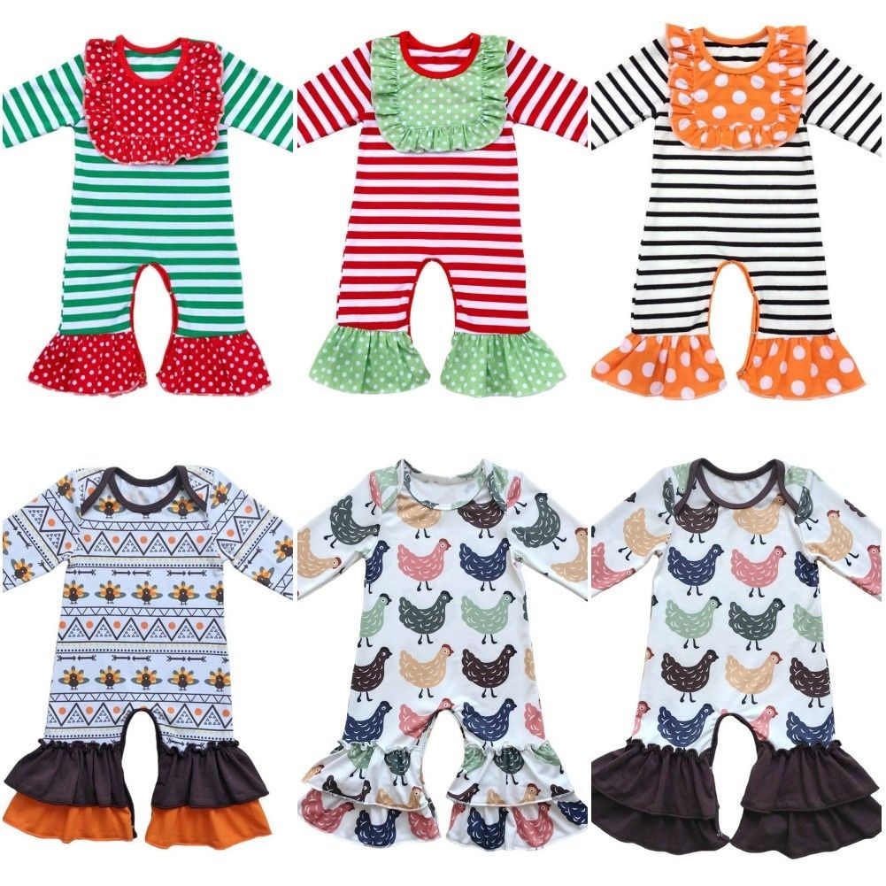 Matching Baby Twin Boys Girls Christmas Ruffled Bottoms Romper ...
