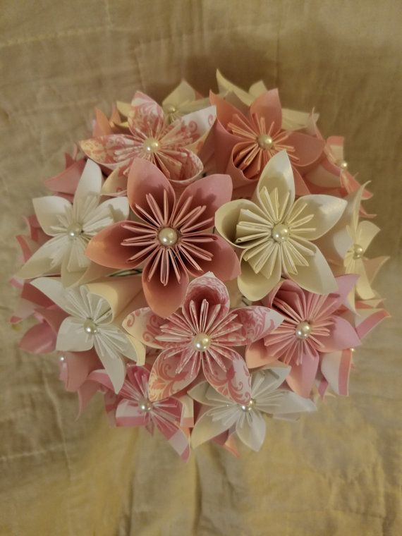 The item for sale is a kusudama flower bouquet. Each flower is made ...