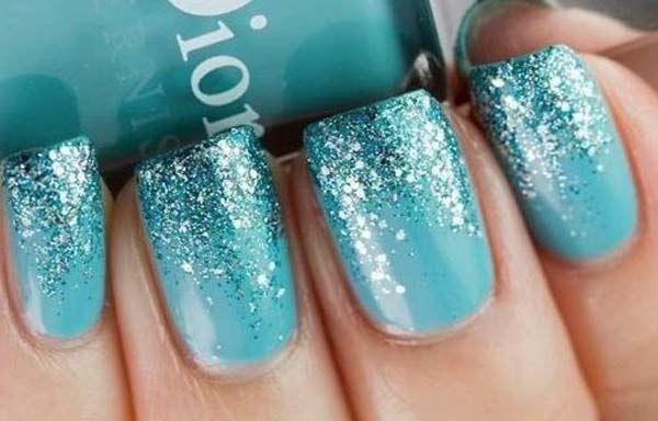 Uñas Decoradas Color Azul O Verde Turquesa Uñas Nails Glitter