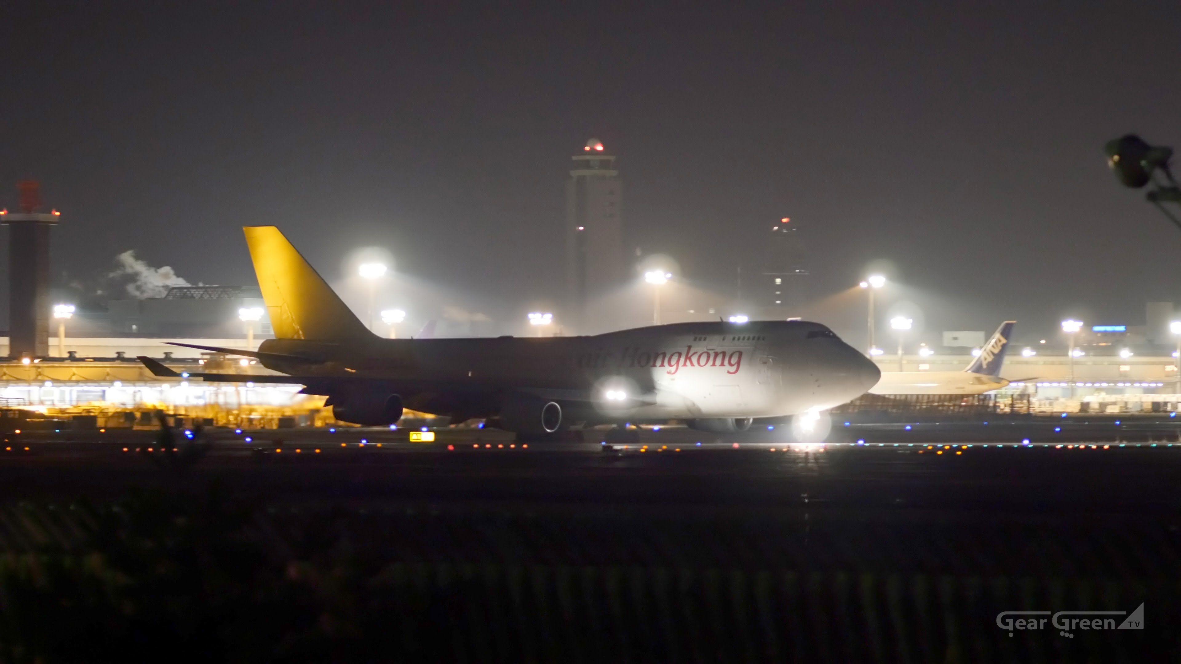 Air Hong Kong B747 400f B Hur Night Takeoff Narita Airport