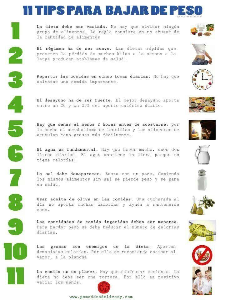 Alimentos que se debe consumir para bajar de peso