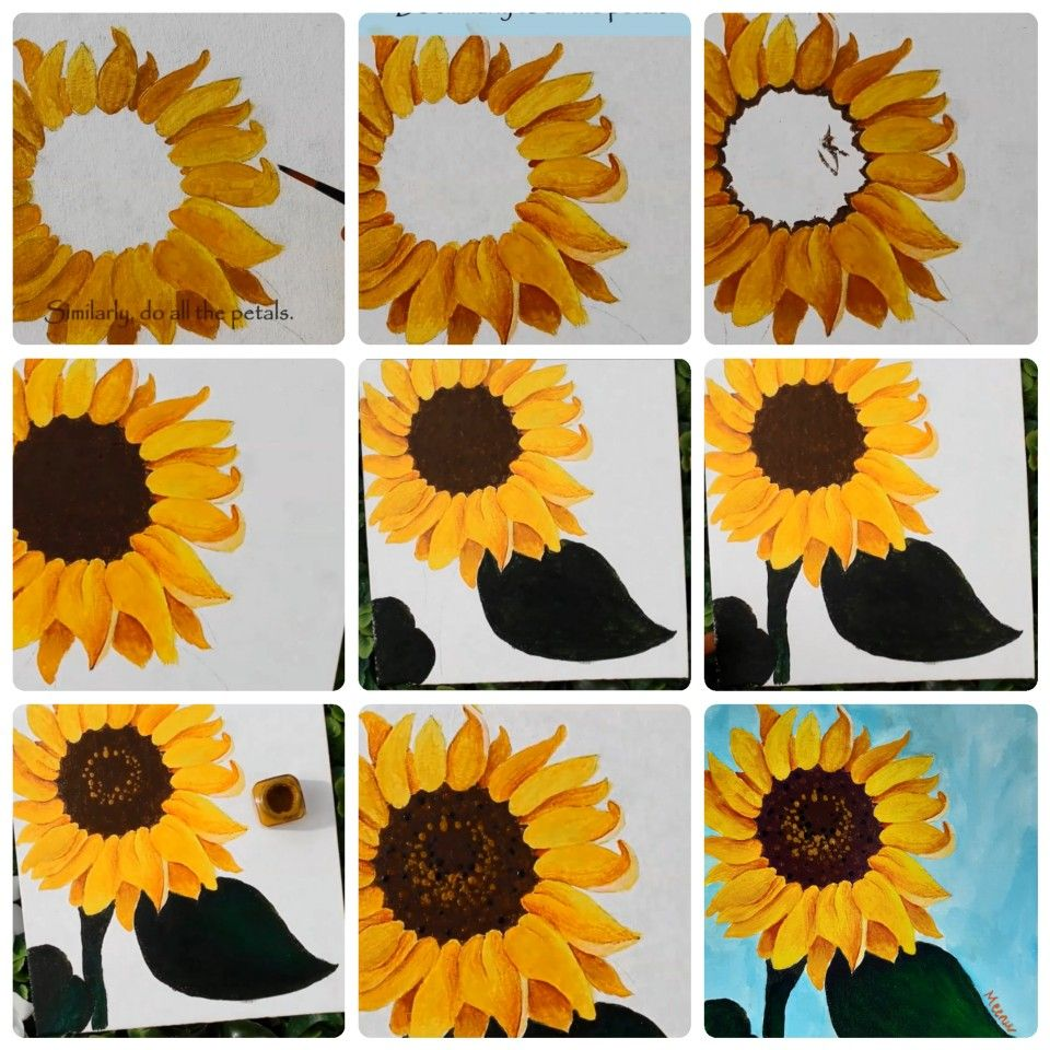 Acrylic Painting Ideas Simple And Easy Sunflower Painting For Beginners How To Paint Sunflowe Sunflower Painting Acrylic Painting Flowers Flower Art Painting
