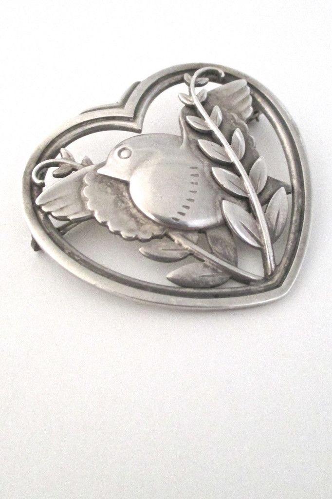Georg Jensen, Denmark - vintage heart & bird brooch #239 #brooch #Denmark #Georg-Jensen