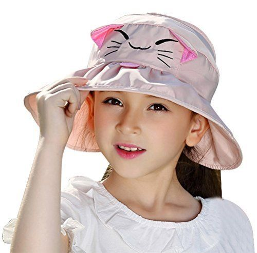 Bienvenu Kids Girls Wide Brim Visor Sun Hat UV Protection Foldable Beach  Cap  Bienvenu d64b5dc43943