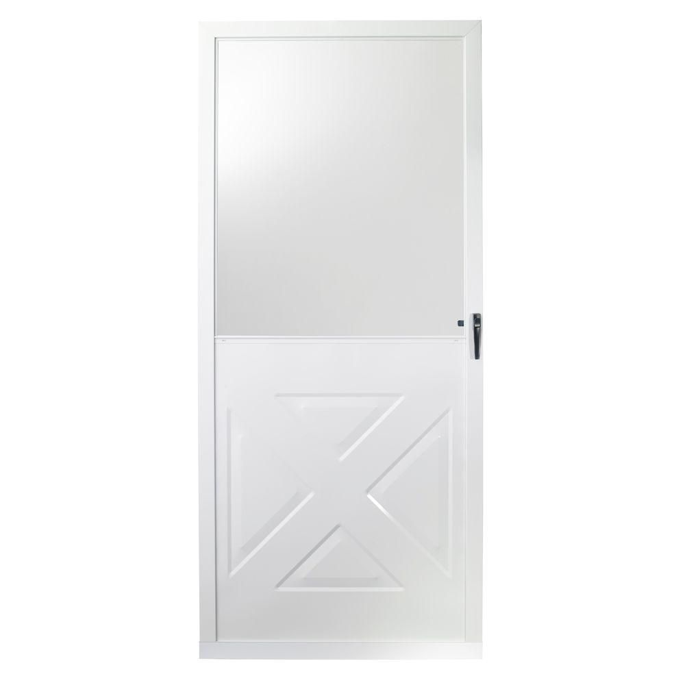 Emco 36 In X 80 In 75 Series White Crossbuck Storm Door Storm