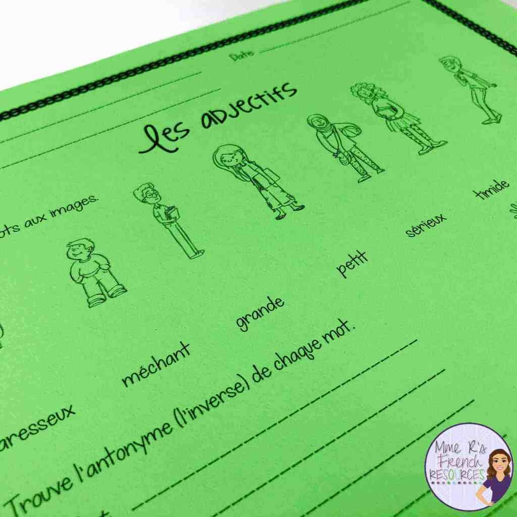 Teaching French Adjectives In