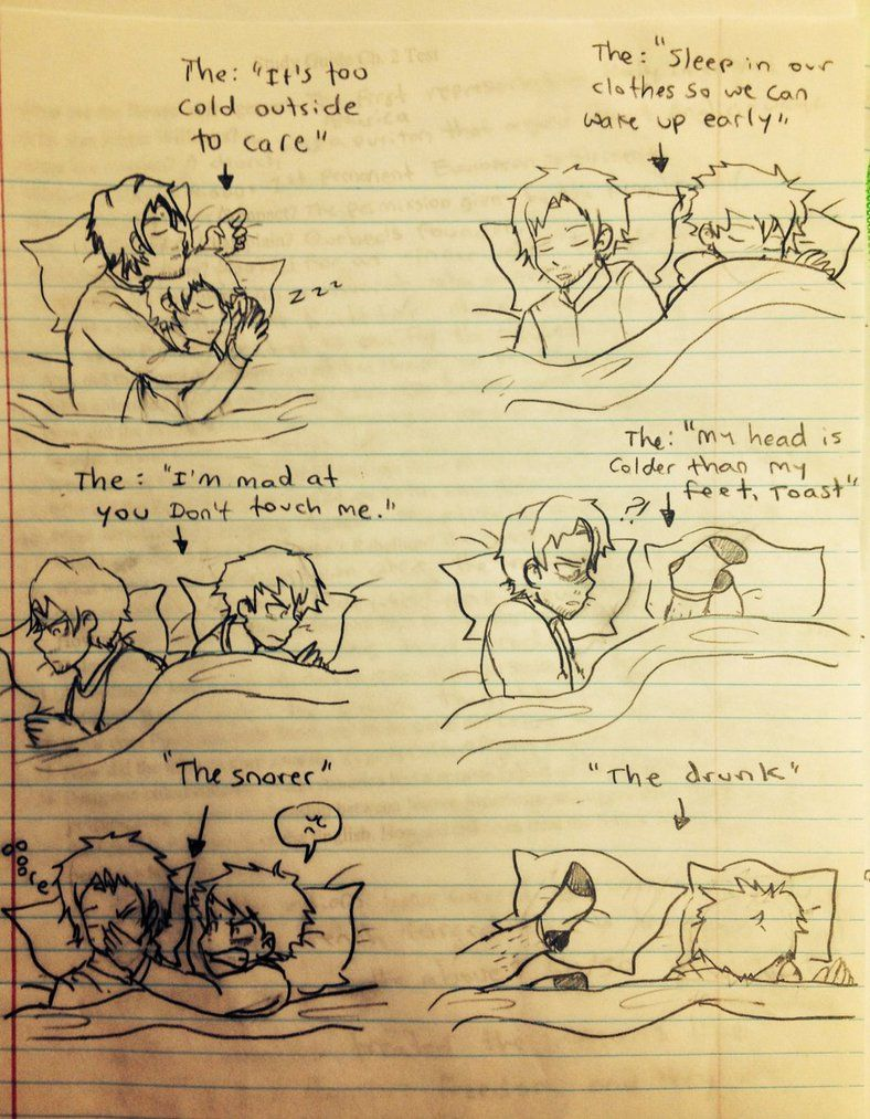 Ghost and Toast sleeping positions by CopperFirecracker on