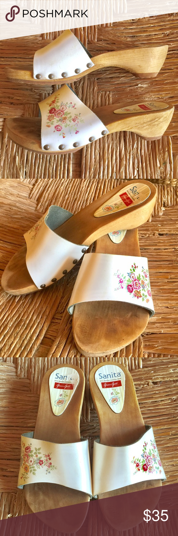 Sanita floral white clog/mule Sanita floral white clog/mule. Super cute little summer slip on clog with sweet flower detail. Worn only a couple times. Excellent condition. Sanita Shoes Mules & Clogs