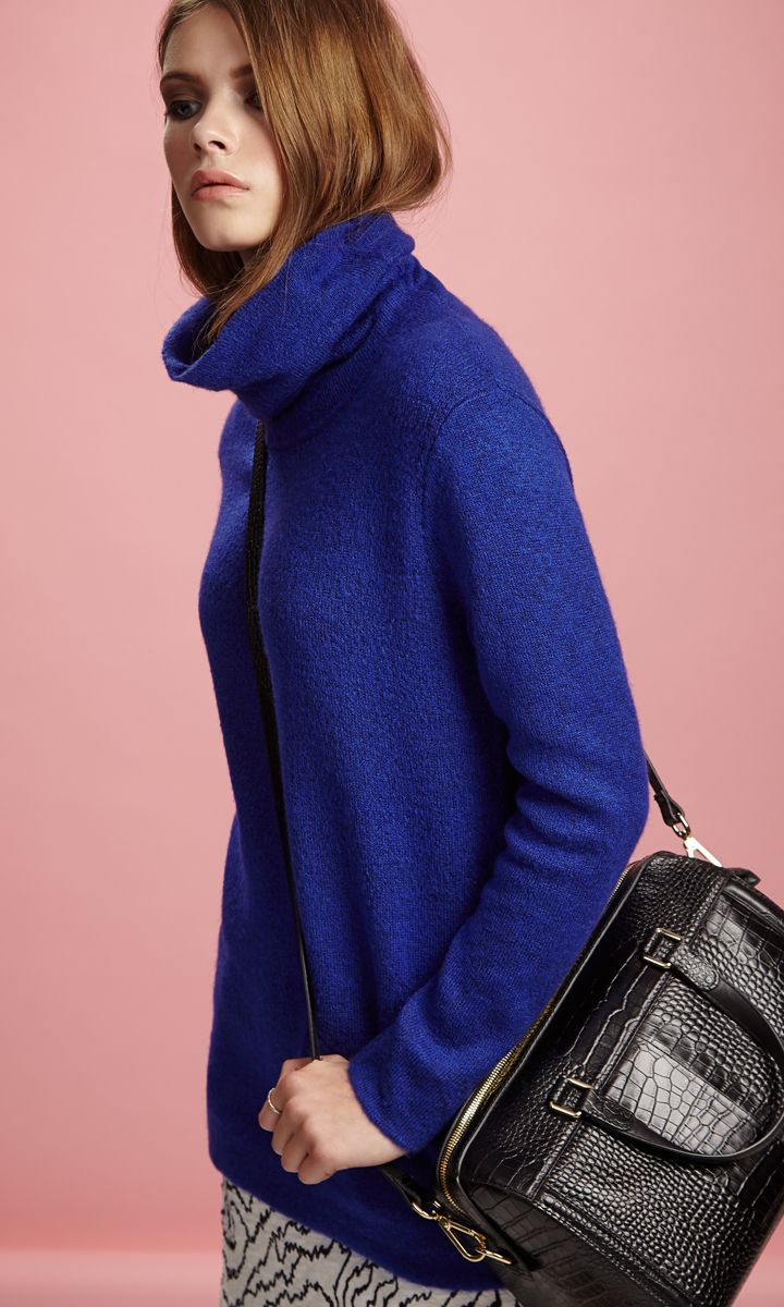 Maria grey sleeveless polo neck - Reiss Women S Sergant Oversized Roll Neck Jumper In Blue Passion