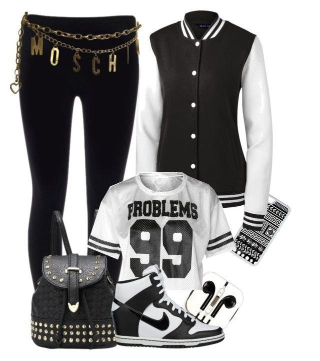 """""""Street wear"""" by allypower ❤ liked on Polyvore featuring CellPowerCases, PhunkeeTree, NIKE and Moschino"""
