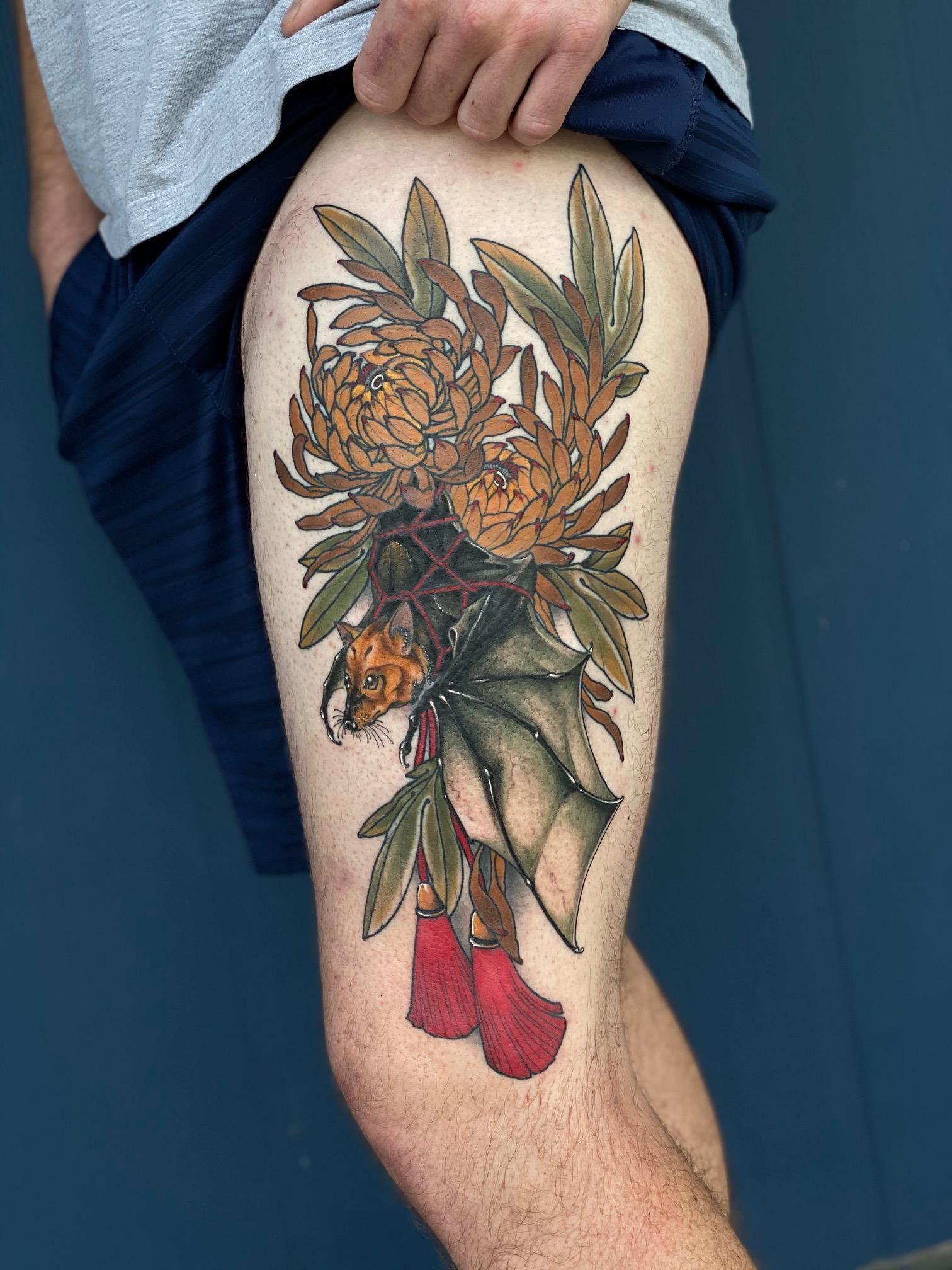 Part 3 of 3 bat tattoo by the amazing matt sandoz