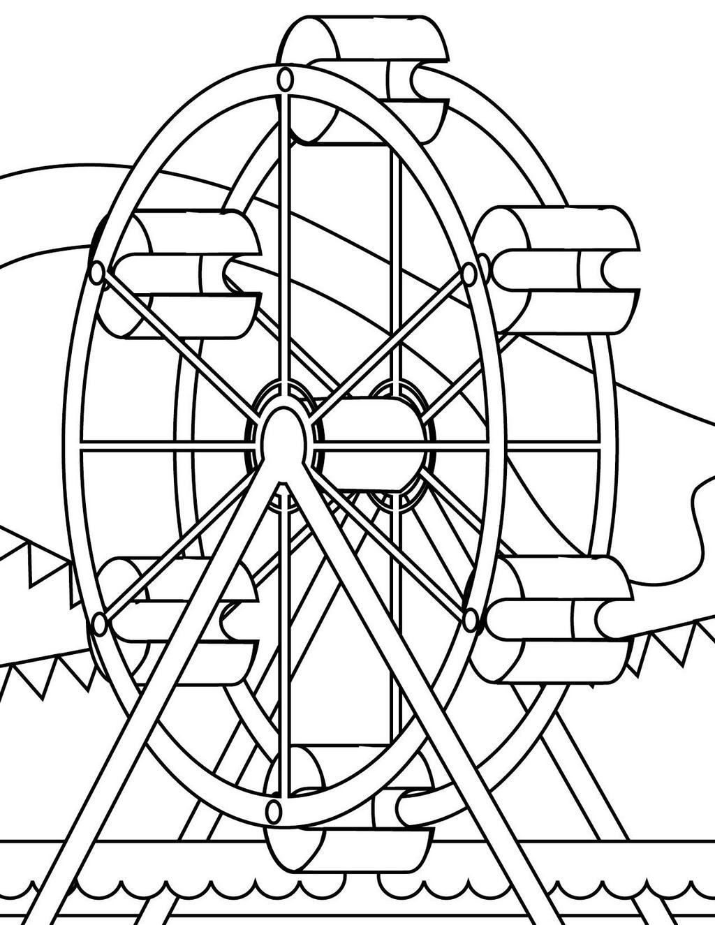 Ferris wheel coloring pages ~ fun ferris wheel coloring sheet for kids | 25 Ferris Wheel ...