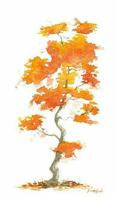 Autumn Tree Watercolor Painting With Images Watercolor Trees