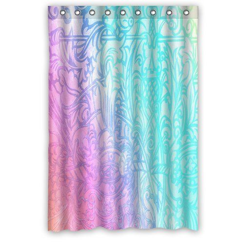New Arrival Fashion Neon Glitter Damask Tribal Bathroom Shower Curtain 48 By 72