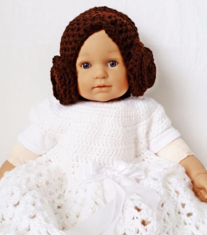 Princess Leia Bun Hat from Star Wars Droid Crochet Beanie baby 6 - 12  months  Handmade de144e93c15