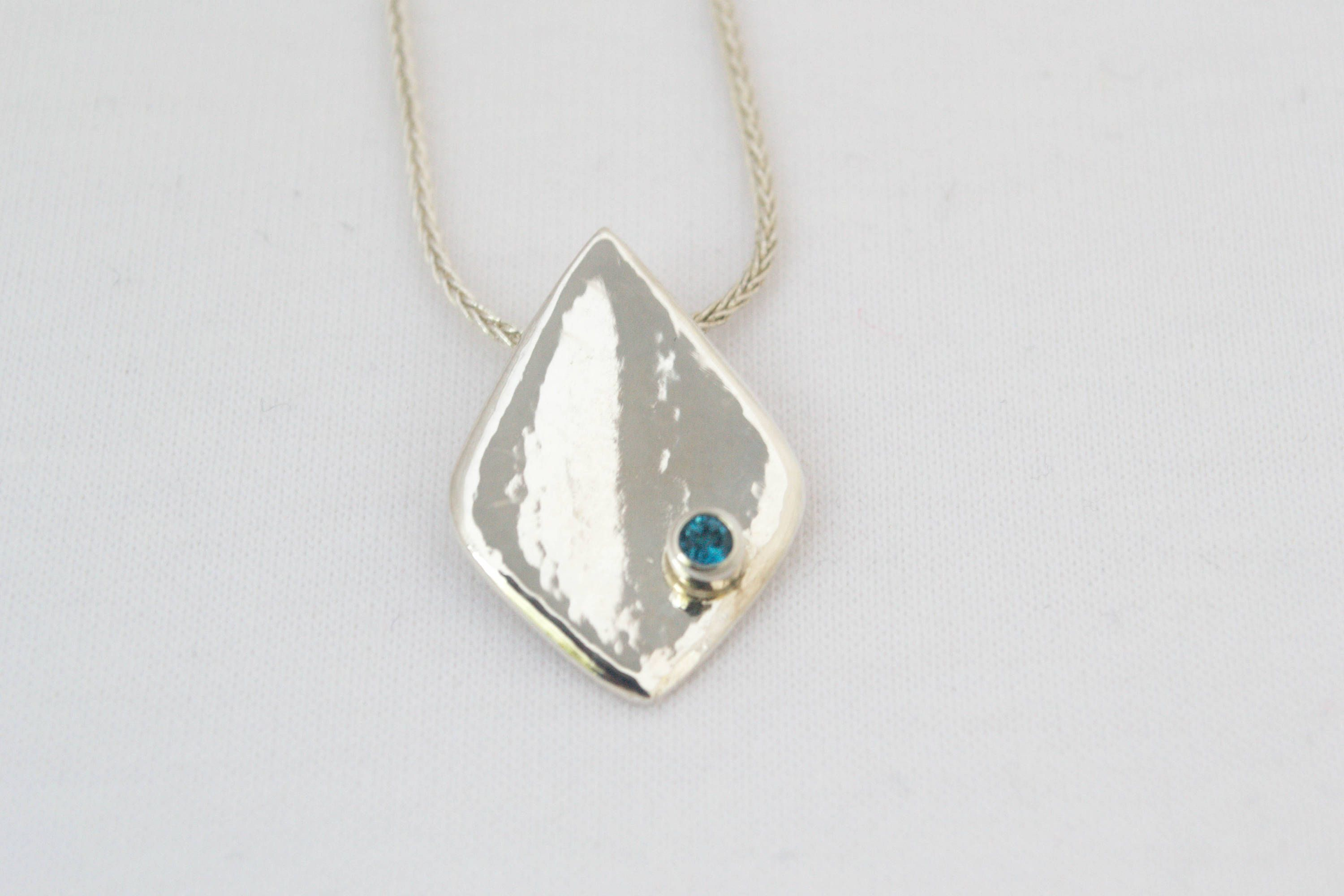 Blue Topaz - Sterling Silver Diamond Shaped Pendant  - Handcrafted Necklace by hollybluejewelry on Etsy